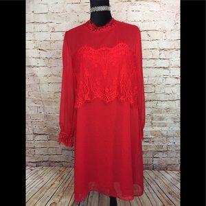 Xhilaration Red Shift Dress Lace Long Sleeve XL
